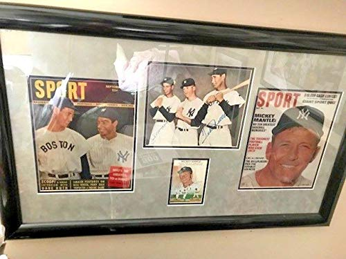 Mickey Mantle Joe Dimaggio & Ted Williams Autographed Signed Photo Display Memorabilia PSA/DNA