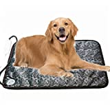 Pet Heating Pad Electric Heated Bed Warming Pad Outdoor Pet Bed Warmer For Dog House Heater Cat Puppy Animal Kitten Indoor Waterproof Adjustable Mat With Low Voltage Adapter (Flower)