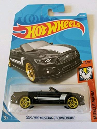 Hot Wheels MUSCLE MANIA 2/10, BLACK 2015 FORD MUSTANG GT CONVERTIBLE 291/365 50TH ANNIVERSARY CARD