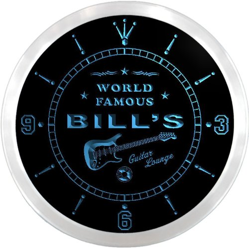 ncpf0159-b BILL'S Famous Guitar Lounge Beer Pub LED Neon Sign Wall Clock