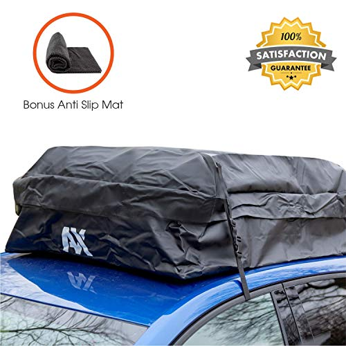 Car Roof Rack Carrier Storage Bag – Waterproof Rooftop Luggage Bag Fits Top of SUV Car or Van with or without Roof Racks – Nonskid Mat Protects Vehicle Simplifies Travel - 18 CU FT – Easy Store