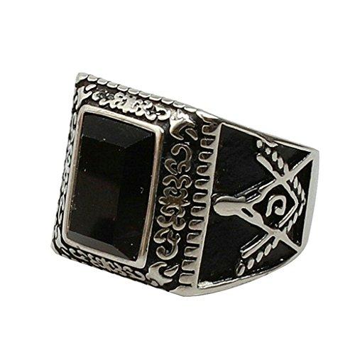 Aooaz pour hommes en acier inoxydable bague argenté rectangulaires de pierre noire maçonnique rétro modèle bague