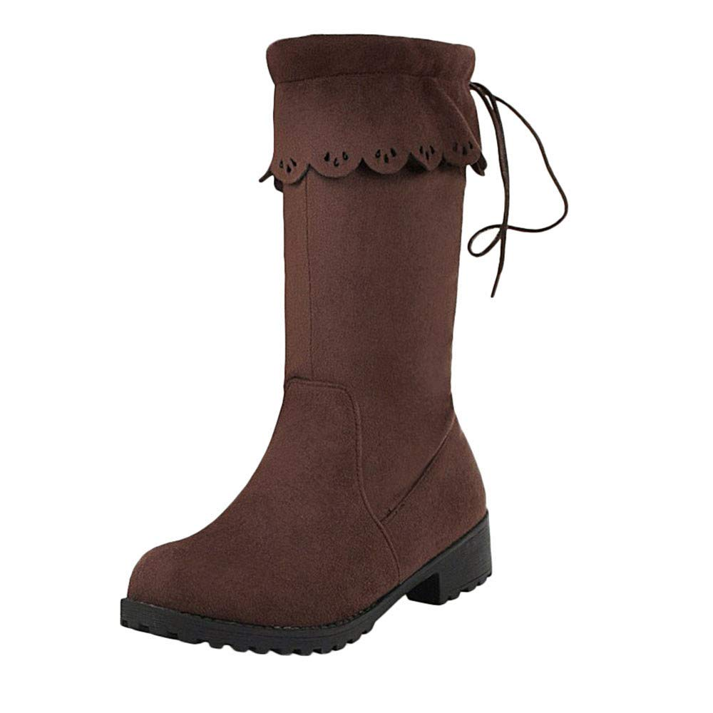Women's Simple Fold Over Mid-Calf Low-Heel Brown Boots - DeluxeAdultCostumes.com