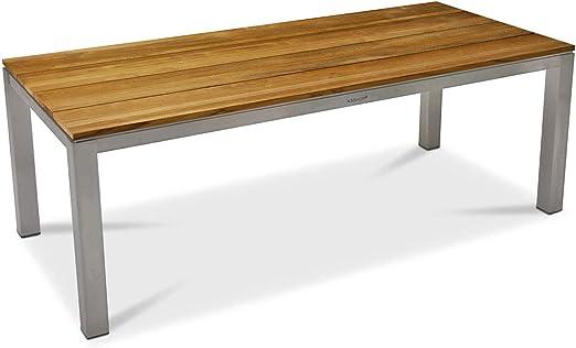 Monbea Alabama - Mesa de jardín (estructura de acero inoxidable, tablero de madera de teca): Amazon.es: Hogar