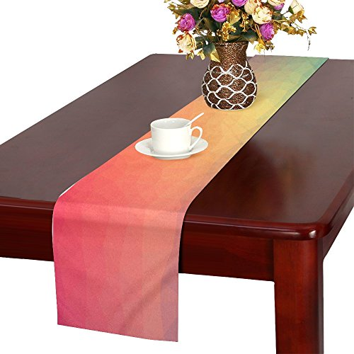 Color Triangle Geometric Textured Shape Abstract Table Runner, Kitchen Dining Table Runner 16 X 72 Inch For Dinner Parties, Events, Decor by RYUIFI