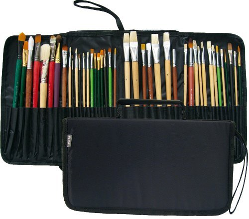 11.5 X 6.5 X 1.5 inches Prat Start Expandable Brush Case with Water-Resistant Nylon Cover Black Holds 44 Long Handle Brushes for Easy Transport BC2-S