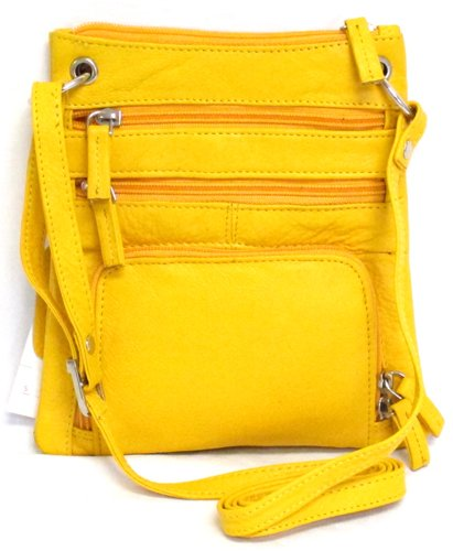Iris Tyler Leather Sling Bag with Organizer (Yellow) 0.5' Wide Leather