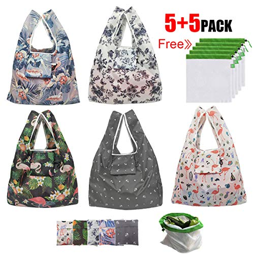 Reusable Grocery Bags, HUAYF 5+5 Pack Cute Design Eco Friendly Large Foldable Shopping Bags Fits in Pocket Waterproof and Machine Washable