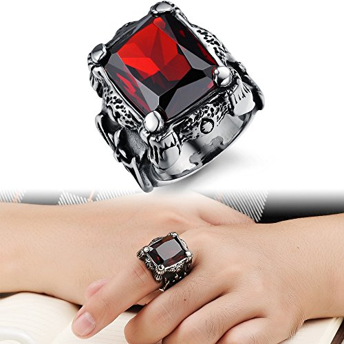 Alimab Punk Real stainless steel Ruby Ring Men's KT big red stones Finger Rings for man