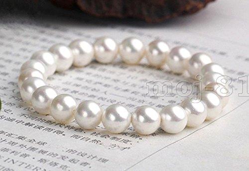 8mm Genuine White South Sea Shell Pearl Round Beaded Stretchy Bracelet 7.5'' ()
