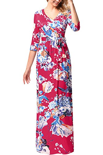 Yming Vestito Delle Donne Per V-nack Beach Wrap Dress Maxi Stampa Floreale Vestito C-rosso-rosa