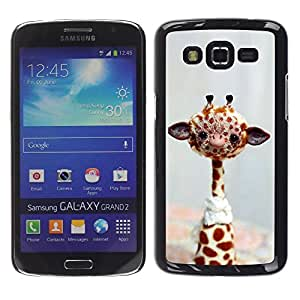 Caucho caso de Shell duro de la cubierta de accesorios de protección BY RAYDREAMMM - Samsung Galaxy Grand 2 SM-G7102 SM-G7105 - Giraffe Stuffed Animal Africa Toy Wild Free Art