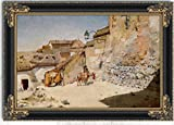 Sunny Spain by William Merritt Chase Oil Painting 30'' x 22'' with Black Antique Frame - Ready to Hang Framed Art Reproduction