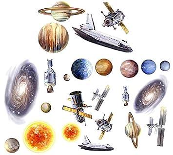 Set Wandtattoo   Weltraum   Wandsticker Weltall Sterne Rakete Space  Aufkleber Saturn Planeten