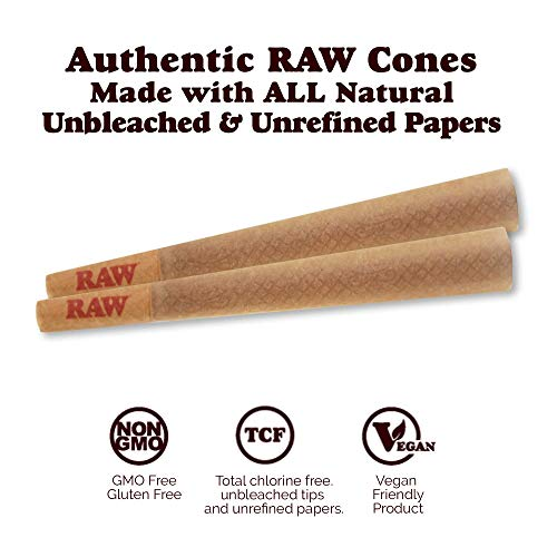 RAW 1400 Pack Classic King Size Pre Rolled Cones with Tips Plus 350 Bonus Mylar Foil Bags | Rolling Papers Made with All Natural Fibers by Raw, W Gallery (Image #1)