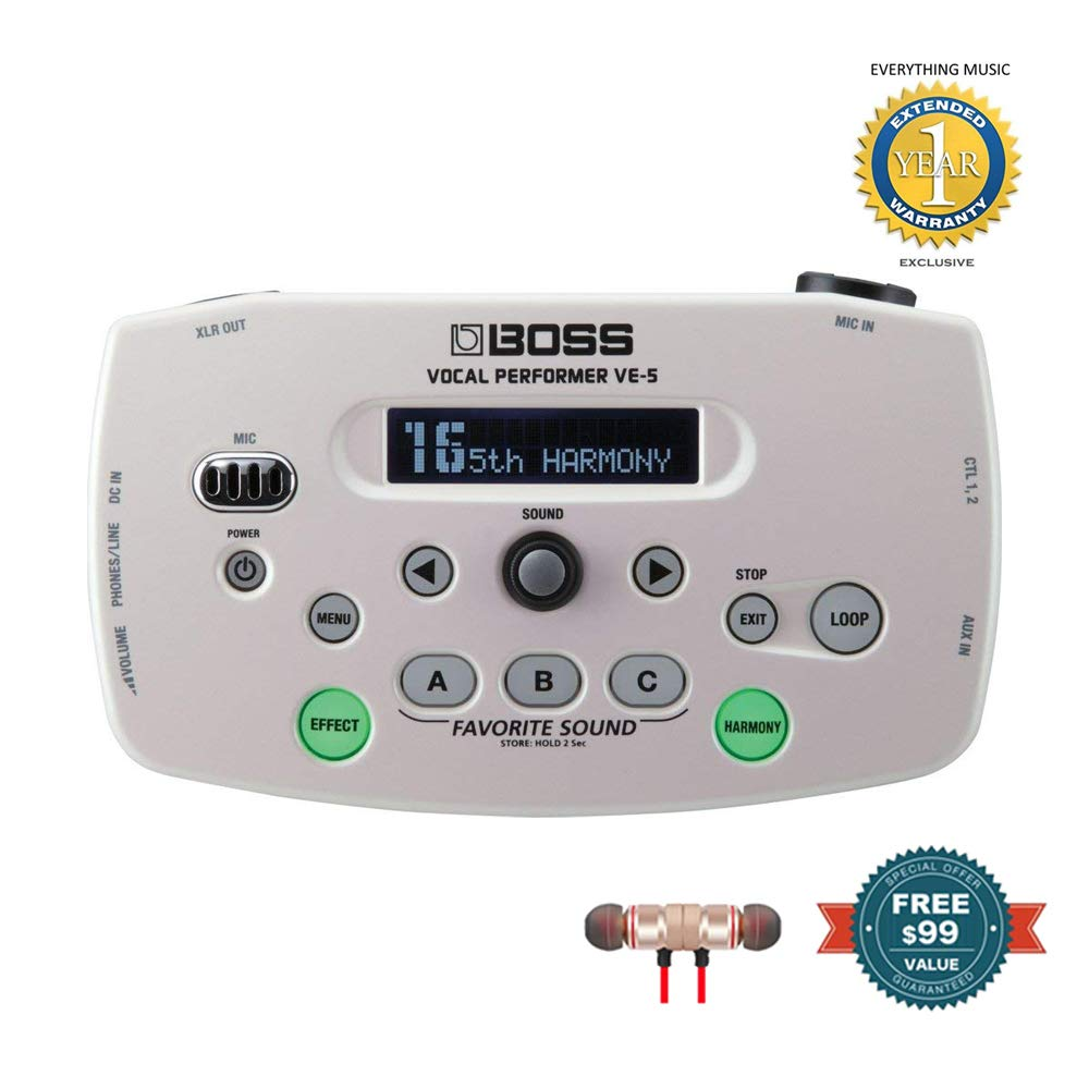 BOSS VE-5 Vocal Performer - Compact Vocal Processor (White) includes Free Wireless Earbuds - Stereo Bluetooth In-ear and 1 Year Everything Music Extended Warranty