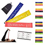 CIVAH resistance loop bands natural latex exercies band includes workout booklet for hysical therapy pilates yoga rehab sport fitness strength belt