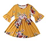 yannzi Toddler Kids Baby Girl Ruffle 3/4 Long Flare Sleeve Floral Party Dresses Clothes (4-5 Years)