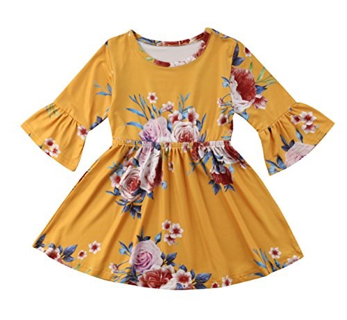 Price comparison product image yannzi Toddler Kids Baby Girl Ruffle 3 / 4 Long Flare Sleeve Floral Party Dresses Clothes (3-4 Years)