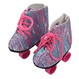 Prevently New Fashion Style Glitter Pink/ Stripe Doll Roller Skates For 18 Inch Our Generation American Girl Doll Casual Shoes Suit Accessories (Multicolor)