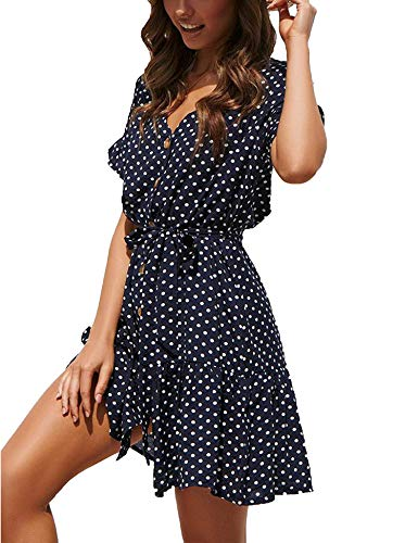 Womens Polka Dot V Neck Button Down Ruffles Casual Loose Swing Short Mini Beach Dress Navy M