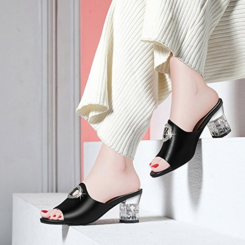 Sandals ZCJB Fish Mouth Thick with and Slippers Outer Wear Waterproof Platform High-Heeled Slippers Black VMSkrun