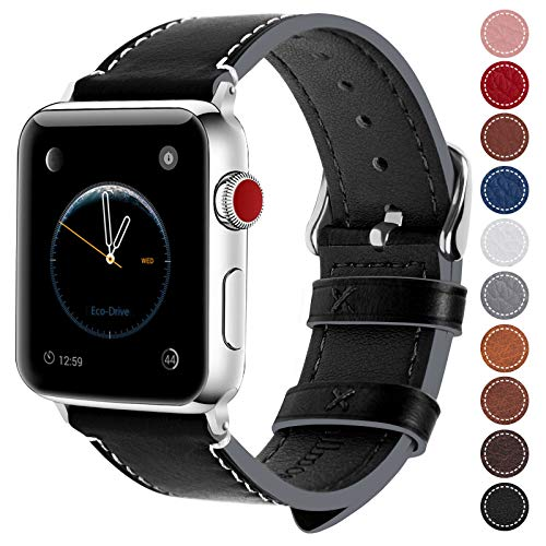 Fullmosa Compatible Apple Watch Band 38mm 40mm 42mm 44mm Genuine Leather iWatch Bands, 38mm 40mm Black + Silver Buckle