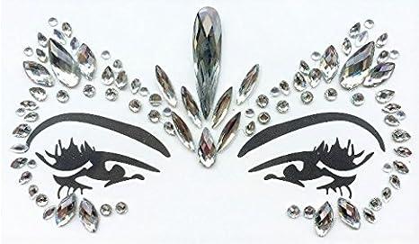 Gem Pegatinas cara y cuerpo joyas de piedras preciosas Pegatinas Glitter Make Up para Fiesta Festival shows y Etapa Ceremonia bfg21claras piedras.