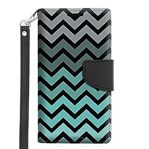 Microsoft Lumia 640 Wallet Case - Chevron Grey Green Turquoise Black