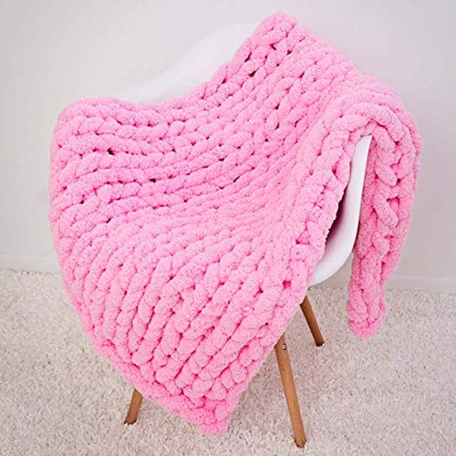 Super Chunky Hand Knit Throw,Extra Chunky Chenille Blanket,Pink Thick Knit Blanket Bedroom Nursery Décor by FAU-Hand Knit Blanket (Image #1)