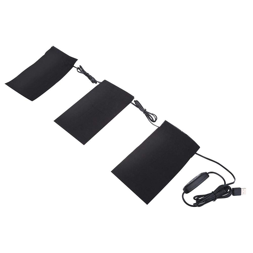 Heating Pads, 5V 2A 8.5W Lightweight Electric USB Heating Heated Pads Set for Outdoor Winter Camping(Power Bank Not Included