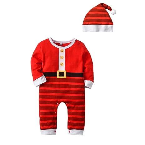 Bebé Mameluco Navidad Mono Unisex Pelele Algodón Body Manga Larga Pijama con Gorra