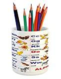 Ambesonne Educational Pencil Pen Holder, Animals Placed on Letter of the Alphabet Teacher's Chart Classroom Kindergarten, Printed Ceramic Pencil Pen Holder for Desk Office Accessory, Multicolor