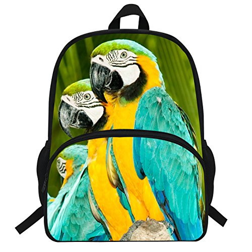 VEEWOW 16-Inch Animal Print Backpack For Teen Grils Parrot Bag (D927)