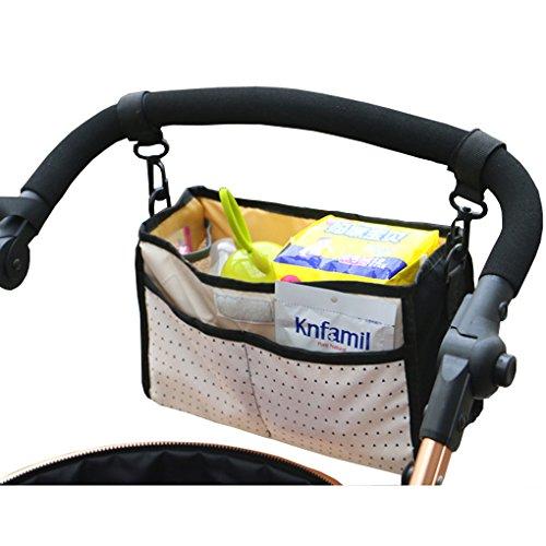 Baby Stroller Organizer Bag, C.A.Z Baby Stroller Pram Pushchair Hanging Storage Bag Insert Organizer Cosmetic Toiletry Bag Makeup Bag Tidy Bag Universal Stroller Cup Holders Waterproof ( Black Dots)