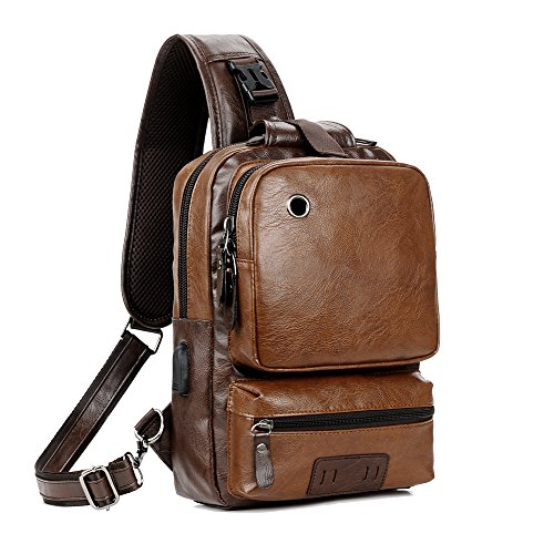Men Vintage PU Leather CrossBody Sling Bag Large Capacity Backpack USB Charge (Largebrown)