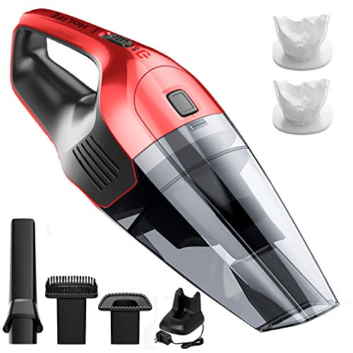 Holife 85dB Quiet Handheld Vacuum Cleaner with 6Kpa Wet Dry Hand Vac 14.8V Lithium with Fast Quick Charge Tech, Hand Vac Up to 30 Mins for Home Car Cleaning Red
