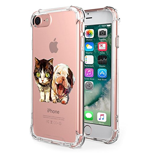 Price comparison product image iPhone 8 Case Silicone Soft cover Transparent Shockproof Kimyer Scratch Resistant Rubber Protector Flexible Reinforced Corner TPU Case Cute Pattern for iPhone 8- Clear (Pet 2)