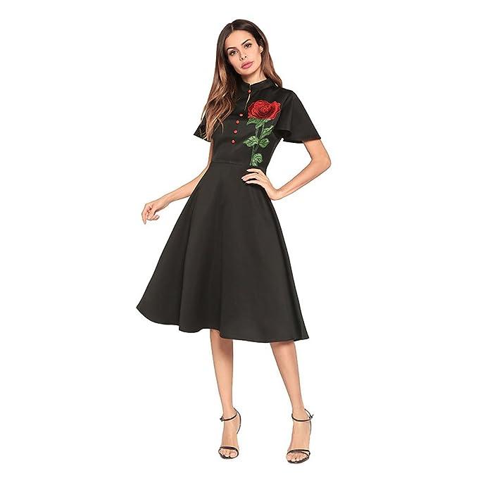 Kleid der Frau Damen Kleider Reine Farbe Kurzarm Zurück Reißverschluss  Kleine Stehkragen Vintage A-Linie Kleid Party Hochzeit Tägliche Arbeiten   Amazon.de  ... da7bc5eec7