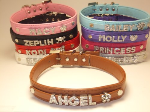 Personalized Custom Fashion Leather Classic Big Large Dog Collar Swarovski Crystal Rhinestone Letters Plus Free Charm Black, Hot Pink, Purple, Baby Blue, Red, White, Brown, Pink, Silver Size Medium Large XLarge (Brown, XL 21