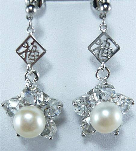 (Wedding Pendientes Earring | Noble 925 Silver Inlay Green Gem Pearl Waterdrop Earrings (Platinum Plated))