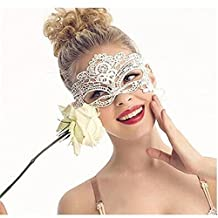 White Lady Lace Mask Cutout Eye Mask For Masquerade Party