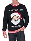 Tipsy Elves Men's Ask Your Mom If I'm Real Ugly Christmas Sweater - Funny Santa Sweater