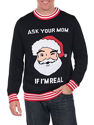 Men's Ask Your Mom If I'm Real Ugly Christmas Sweater - Funny Santa Sweater: Large ()