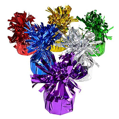 """Colored Metallic Balloon Weights – 5.5"""" Wrapped Loads - Pack of 12 Heavy Blocks for Tarpaulin, Party Decorations, Room Surprise, Backdrops, Aisle Decors, Christmas Props, and Birthday Bashes"""
