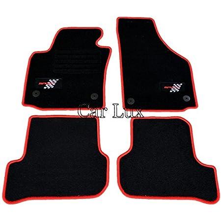 Car Lux NAR03258 - Alfombras Alfombrillas Personalizadas a Medida para Leon 1P Desde 08/2005 en Velour Ribete Rojo