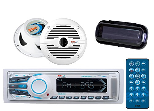 Boss MR1308UAB Bluetooth USB/SD Stereo Receiver Bundle Combo with Boss MR50B 5.25'' 150 Watt 2-Way Weather Proof White Coaxial Marine Speaker + Boss Mrc5B Universal Marine Waterproof Radio Cover