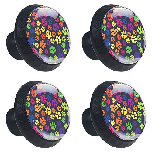 jessgirl Rainbow Paws Footprints Cat Dog Drawer Knobs Handles Pulls for Cupboard Dresser Office with Screws DIY(Pack of 4)