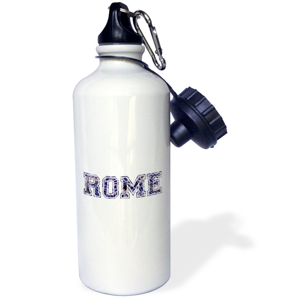 3dRose wb_151371_1 ''Rome text-blue word art on white made from vintage Italian map-city souvenir-Italy-dark navy'' Sports Water Bottle, 21 oz, White
