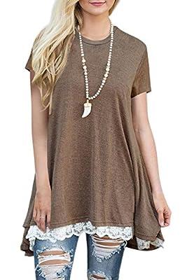 IceBeans Women's Short Sleeve Casual Loose T-Shirt Dress